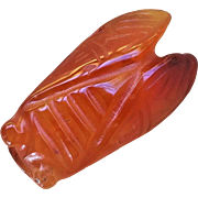 Chinese Large Hand Carved Carnelian Cicada Amulet Pendant