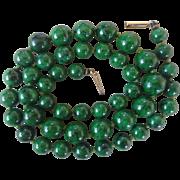 Very Rare Vintage Emerald Green Hydrogrossular Garnet Necklace 14k Rose Gold Clasp