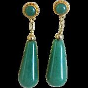Vintage Chinese Export Imperial Green Aventurine Gold Vermeil Earrings