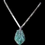 Antique 19th C. Chinese Imperial Emerald Green Jadeite Pendant