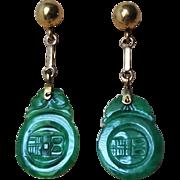 Vintage Chinese Art Deco 14k Imperial Emerald Green Jadeite Earrings