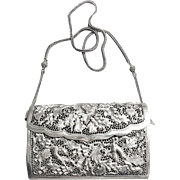Antique Indo-China Export Sterling Silver Repousse Handbag Purse Signed
