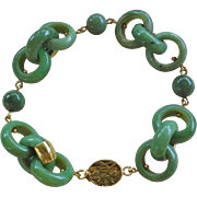 Vintage Chinese 1970's Green Jade Bracelet Interlocking Jade