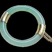 Vintage Chinese Apple Green Translucent Jadeite Gold Plated Bracelet