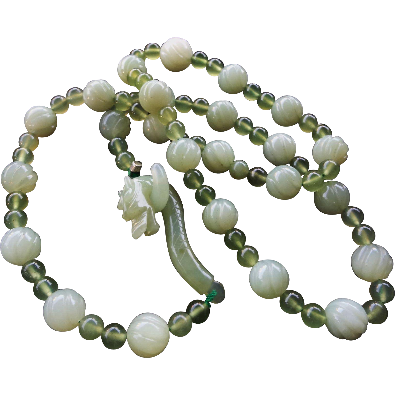 vintage translucent green jadeite carved bead