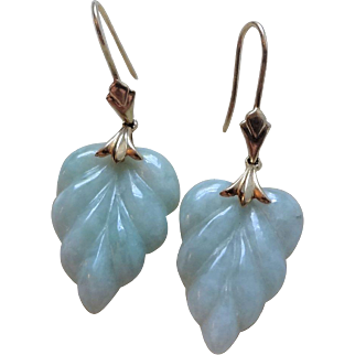 Vintage Chinese Export 14k Translucent Green Jadeite Earrings Made In Hong Kong