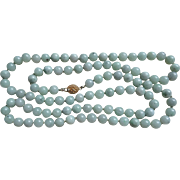 Vintage Chinese Green Jadeite Opera Length Necklace Gold Vermeil Clasp