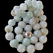 Vintage Large Jadeite Bead Necklace Filigree 925 Clasp