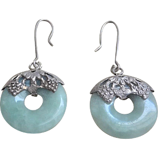 Art Deco 1920's Chinese Green Jadeite Sterling Silver Repousse Earrings
