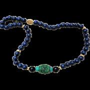 Vintage Chinese Imperial Green Jadeite Shou Carved Bead Lapis Lazuli Onyx Turquoise Necklace