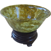 Vintage 1970's Chinese Translucent Green Spinach Jade Bowl With Stand