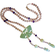 Vintage Chinese Jade Rose Quartz Amethyst Hand Carved Necklace