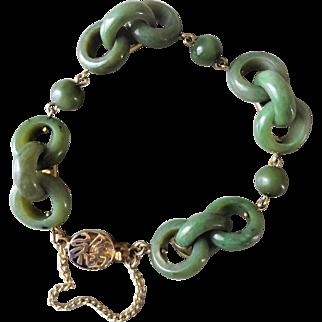 Vintage 1970's Chinese Export Green Jade Devil's Work Interlocking Bracelet Gold Vermeil