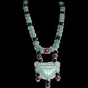 Vintage 1970's Chinese Jade Lock Pendant Aventurine Onyx Carnelian Necklace