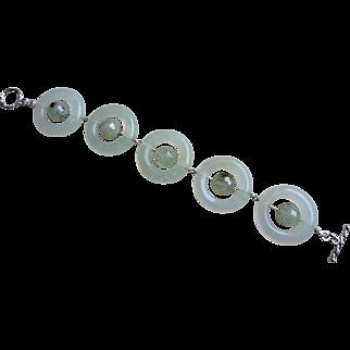 Vintage Translucent Jade Moss Agate Sterling Silver Bracelet
