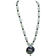 Vintage Chinese Export Translucent Green Jade Blue Tiger's Eye Cloisonne Pendant Necklace