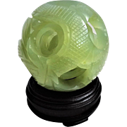 "Vintage 20thC Chinese Export Green Serpentine 5 Layer Puzzle Ball Large 3.75"" Diameter"