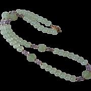 Vintage Hand Carved Translucent Shou Green Jade  Amethyst Gold Vermeil Necklace