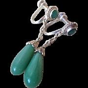 Art Deco Chinese Green Jade Sterling Filigree Earrings
