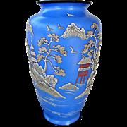 Vintage 1920's Japanese Wedgewood Blue Porcelain Moriage Vase Large 9 Inches High