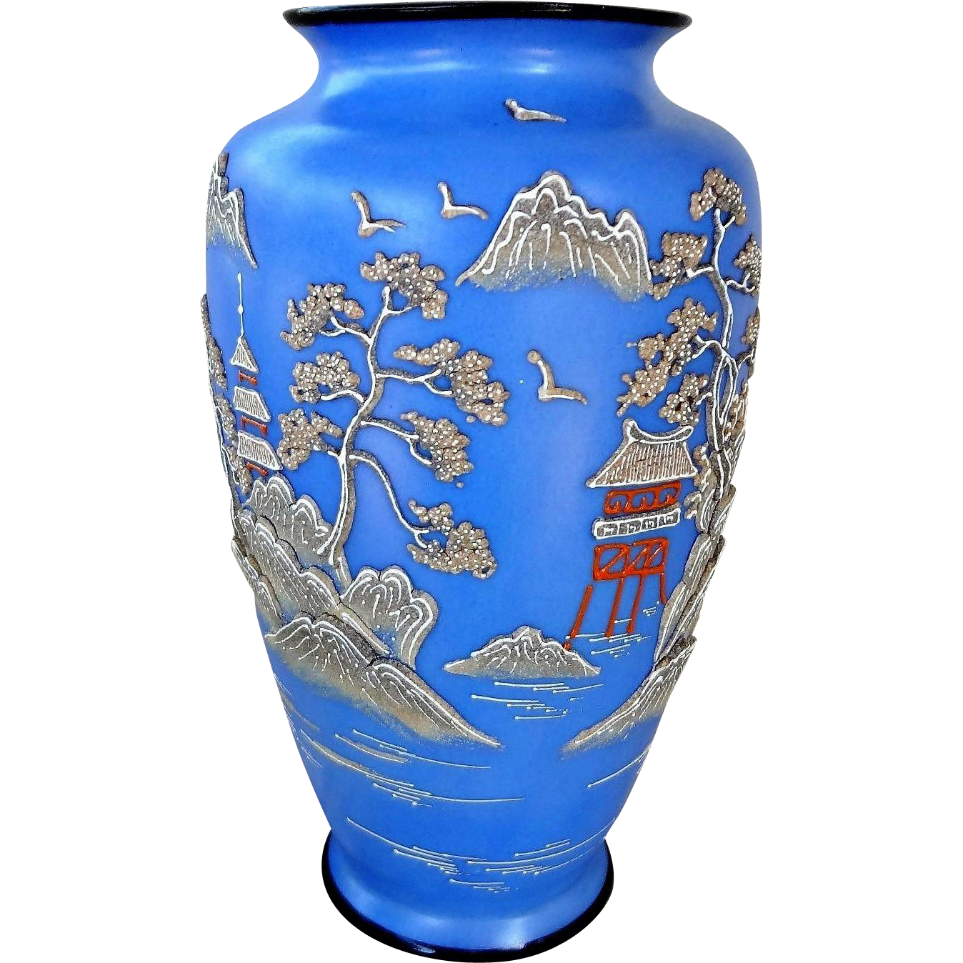 Vintage 1920 S Japanese Wedgewood Blue Porcelain Moriage