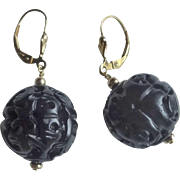 Vintage Whitby Jet Hand Carved Round Earrings 14k Gold Filled Leverbacks