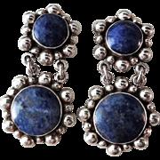 Vintage 1980's Taxco Juan Sandoval Vasquez Ts-79 Lapis Lazuli Sterling Earrings
