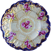 Antique 1880's Japanese Kutani Nippon Fluted Plate Roses Heavy Gold Beading Cobalt Edges