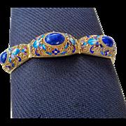 Antique Chinese Export Lapis Lazuli Enamel Gold Vermeil Filigree Panel Bracelet