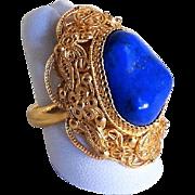 Vintage Chinese Art Deco Shou Gold Vermeil Filigree Lapis Lazuli Ring Adjustable 7.5 Size
