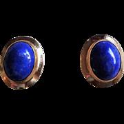 Vintage 14k Oval Blue Lapis Lazuli Stud Earrings
