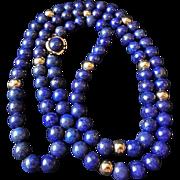 Lapis Lazuli Necklace 14k gold Beads 14k Clasp