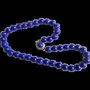 Vintage Royal Blue Lapis Lazuli Necklace  Large 10 mm Gems
