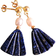Vintage Carved Lapis Lazuli Cultured Pear Gold Vermeil Earrings