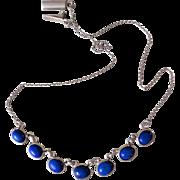 Vintage Art Deco Lapis Lazuli Sterling Silver Necklace