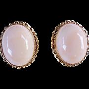 Huge Superb Italian Vintage 14k Oval Angel Skin Coral Earrings