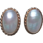 Vintage 10k Yellow Gold Mabe Pearl Earrings