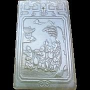 "Antique Large 3.25"" Hand Carved Nephrite Jade Hand Carved Poem Pendant"
