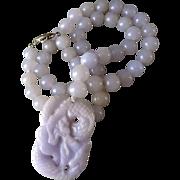 Vintage Translucent Lavender Jadeite Necklace Carved Lavender Jadeite Dragon Pendant Gold Vermeil Clasp