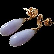 Vintage Chinese 1970's 14k Translucent Lavender Jadeite Teardrop Earrings