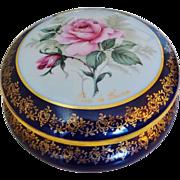 Large Vintage Limoges Rose De France Porcelain Dresser Trinket Jewelry Box Heavy 22k Gold Gilding