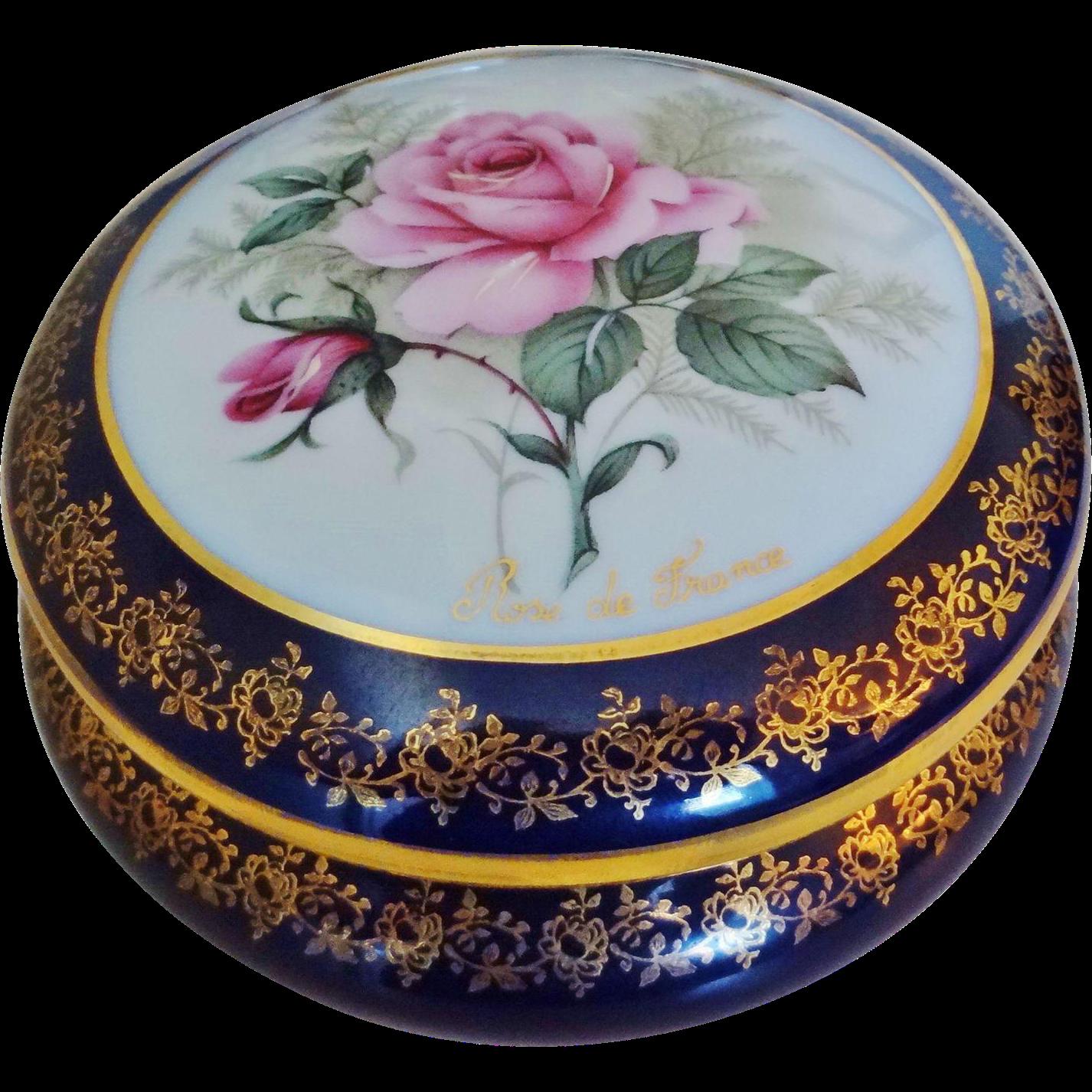 Large Vintage Limoges Rose De France Porcelain Dresser