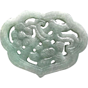 Chinese Hand Carved Green Jadeite Lock Pendant
