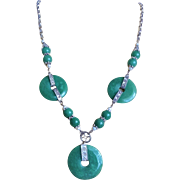 Vintage Chinese Art Deco Imperial Green Aventurine Necklace