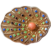 Chinese Export 1940's Sterling Gold Gilt Mesh Enamel Lotus Leaf Coral Brooch