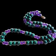 """Vintage 14k Amethyst Malachite Necklace 26"""" Length"""