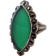 Vintage Art Deco Chrysoprase Marcasite Sterling Silver Ring