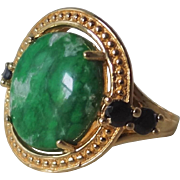Vintage 1980's Imperial Green Maw Sit Sit Black Spinel Gold Vermeil Ring Size 7