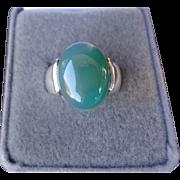 Vintage Chrysoprase Modernist Sterling Silver Ring Size 7