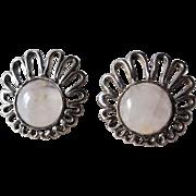 Vintage 1960s Moonstone Silver Earrings